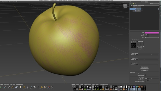 testing shapes and settings on the stamp in mudbox